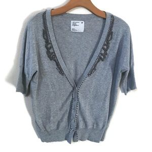 Grey American Eagle Cardigan with Metal Beading
